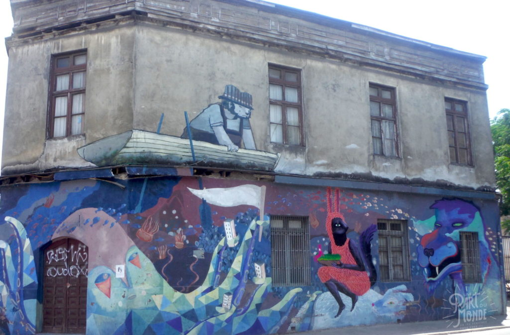 street art bateau santiago du chili