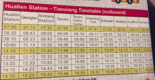 horaire bus hualien taroko