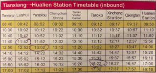horaire bus taroko hualien